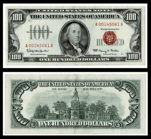 1966  $100 LEGAL TENDER RED SEAL~~EXTRA FINE