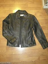 WOMENS~LADIES M~JONES NEW YORK JACKET~COAT~SOFT BLACK LEATHER~ZIPPER~NWOT