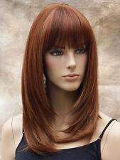Straight Full Human Hair blend Heat OK w. Bangs Auburn Red Blonde mix LP 1031