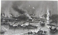 Civil War BATTLE OF NEW ORLEANS SHIPS & FORTS IRONCLAD, 1881 Art Print Engraving