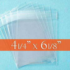 "100 Clear Cello Bags, 4 1/4"" x 6 1/8"" inch Resealable Flap, OPP Poly Cellophane"