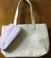 CLINIQUE reversable sparkle book, shopping, work or beach bag with cosmetic bag
