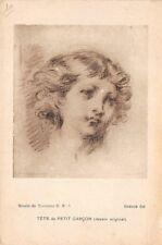 Photo d'ART -TÊTE DE PETIT GARCON - Greuze (dessin original) musée de Tournus -
