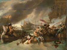 BENJAMIN WEST AMERICAN THE BATTLE LA HOGUE OLD ART PAINTING POSTER BB4930B