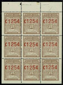 """#16T111 BOOKLET PANE 1944 25 CENT """"WESTERN UNION TELEGRAPH CO."""" ISSUE MINT-OG/NH"""