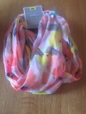 INFINITI Scarf By Hallmark New With Tag Peach Yellow Colors With Print