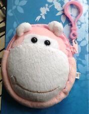 Unisex Cartoon Animal Pink Monkey Velour Kids Coin Bag Purse Pouch Wallet New