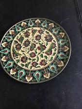 Enamel on Brass decorative flowered plate