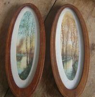 Lot de 2 gravures en cadre ovale paysage de rivière longée de bouleaux