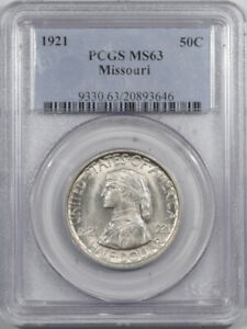1921 MISSOURI COMMEMORATIVE HALF DOLLAR - PCGS MS-63 PREMIUM QUALITY, NEAR GEM!