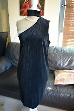 & Other Stories Black Velvety Off 1 Shoulder Choker Neck Dress 12-14