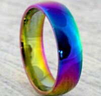 6mm Rainbow Stainless Steel Mens Womens Wedding Band - New Coloured Ring - J-Z+2