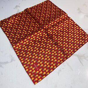 Eton Red silk pineapple print pocket square NWT