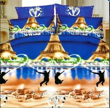 3D Bedsheet Love Couple Eiffel Tower Theme Queen Fitted Sheet w/ Pillowcase