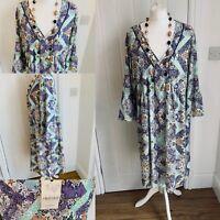M&S Indigo Lilac Mint Green Mix Bohemian Dress Sz 18 BNWT £39.50 Floaty Modal
