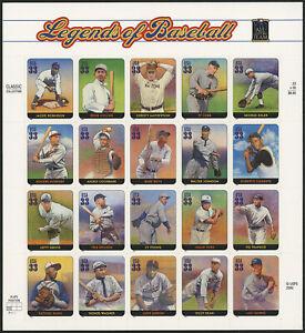 US 2000 33c Legends of Baseball Sheet of 20 Stamps Scott #3408 MNH