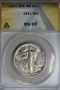 1941  .50   ANACS  MS 63  Walking Liberty, Half Dollar, Lady Liberty Half
