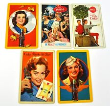 Coca-Cola Coke Lot 5 Vintage Cartes à jouer 1940'pièces jusqu'à 60's USA Jeu de