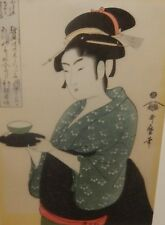 KITAGAWA UTAMARO JAPANESE WOMEN WOODBLOCK ON SILK