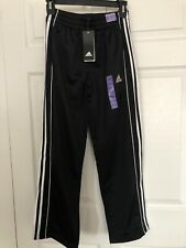 NWT Adidas  Boys Track Pants Joggers Size M 10/12 Black With White Stripes