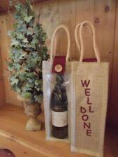 """""""Well Done"""" Hessian / Jute Wine Gift Bottle Bag"""