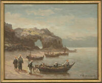 Framed Contemporary Oil - Boats Ashore