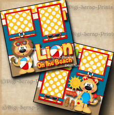 Lion On The Beach premade scrapbook pages paper piecing layout summer DIGISCRAP