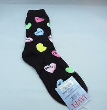 Womens Hearts Sweet Love Novelty Black Crew Socks Size 9-11 Valentine Sparkle