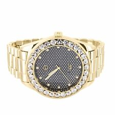 Presidential Watch Techno Pave Simulated Diamond Bezel Gold Tone Hip Hop Men New