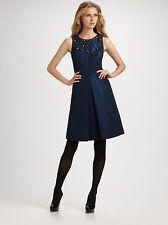 NWT Kay-Unger-New-York-Navy-Beaded-Aline-Faille Dress sz 6 MSRP $440
