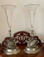 More details for an unusual pair of victorian swan epergnes with cut glass flutes by j cockburn