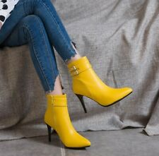 Womens Heels Pointed Toe Ankle Riding Boots Buckle Strap Stilettos Shoes Big SZ