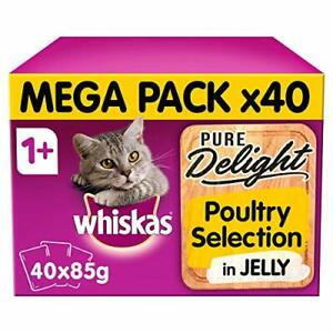 Whiskas Moist food pouches, delicious and tasty poultry selection in jelly