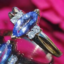 LeVian 14k yellow gold 1.20ct natural fancy cut tanzanite & diamond ring 4.4gr