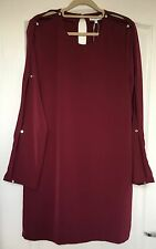 "NEW ""Warehouse"" Women's Diamante Button Slit Sleeve Dress, Size 10, Burgundy"