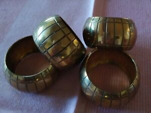 """4 BRASS Napkin Rings 1"""" Thick India Christmas 🎄 Table Dining Entertaining Lot 2"""