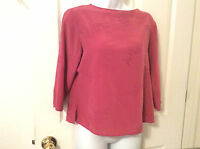 ANNA AND FRANK Womens Petite M 100% Silk Pink Top Floral Stitch 3/4 Sleeves