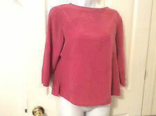 ANNA AND FRANK Women's 100% Silk Pink floral stitch long sleeved top, Size M