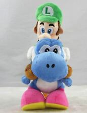 Super Mario Bros Luigi Plush Doll Riding On Blue Yoshi Stuffed Animal Toy Gift
