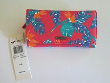 NEW Roxy My Long Eyes Trifold Wallet Girls Women's Hawaiian Floral Pink Tropical