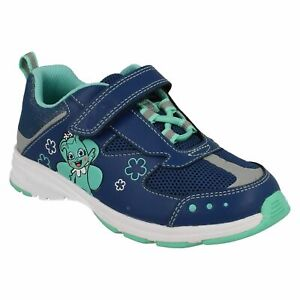 GIRLS CLARKS REFLECTICE HOOK & LOOP JUNIOR CASUAL TRAINERS WALKING SHOES SIZE