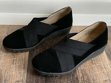 Women's 39 US 8.5 SPRING STEP EPICURE Black Suede Leather Slip On Wedge Loafers