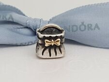 Authentic Pandora Charm Purse Handbag Sterling Silver And 14ct Gold Bow 790474