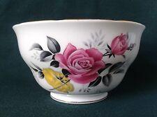 ROYAL VALE SUGAR BOWL FINE BONE CHINA SUGAR BASIN PINK ROSES AND YELLOW FLOWERS