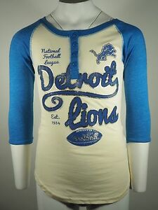 NEW Detroit Lions Youth Girls NFL Official Distressed shirt New 3/4 Sleeves