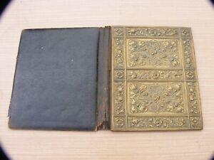 Antique Blotter / stationery folder case with an Art Nouveau cast brass cover