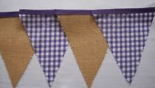 Purple Gingham Hessian Fabric Bunting Birthday Party decoration Gift 4mt or more