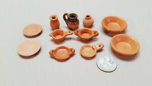 Dollhouse Miniature Terra Cotta Tableware, lot of 11 (TC3)