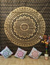 Mandala Gold Black Queen Tapestry Cotton Tapestry Wall Hanging Screen-Print Art