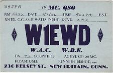 QSL Card NEW BRITAIN CONN. 1936 USA Funk Karte Radio W1EWD    ( 80402